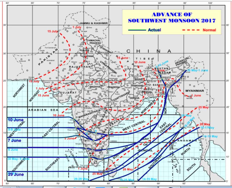 Northern Limit of Monsoon 2017