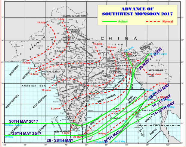 Northern Limit of Monsoon June 2017