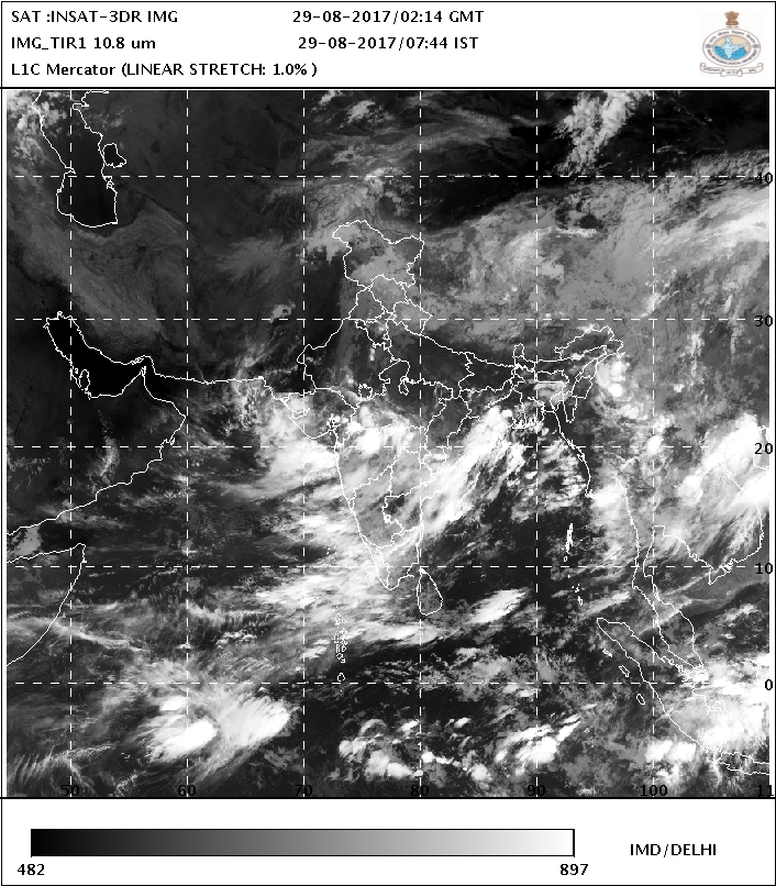 Satellite image of 29th August 2017 at 0744 hrs IST