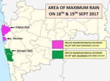 AREA OF MAXIMUM RAINFALL RECORDED ON 19TH SEPT 2017 EXCEEDING 300 MM OVER MUMBAI & RATNAGIRI