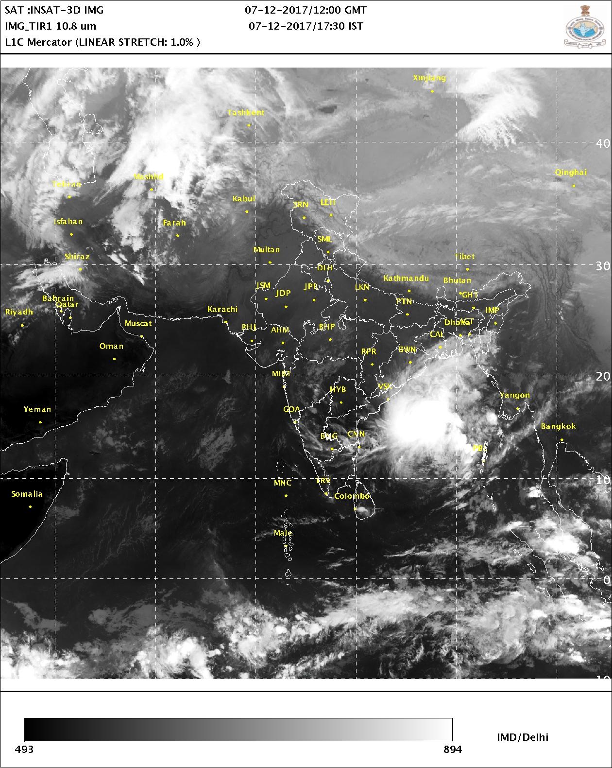 Satellite picture 7th December 2017