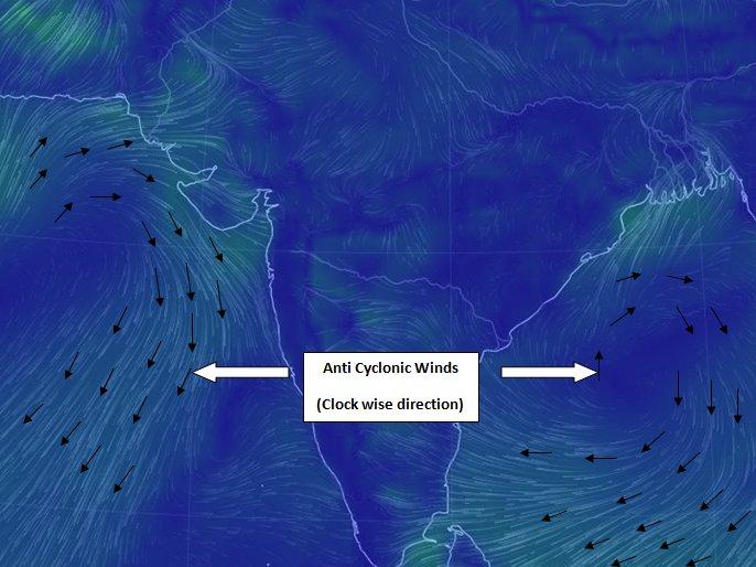 Anti Cyclones over Arabian Sea & Bay of Bengal