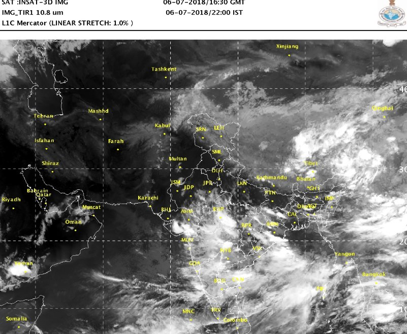 Satellite picture on 6th July 2018